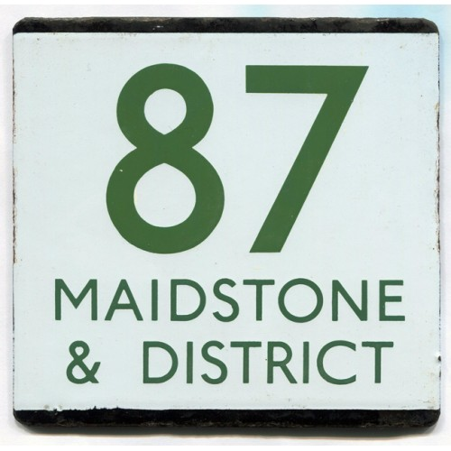 London Transport Bus Stop e Plate 87 Maidstone & District