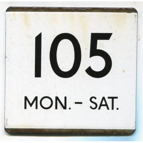 London Transport Route 105 Mon.-Sat. Bus Stop 'e' Plate