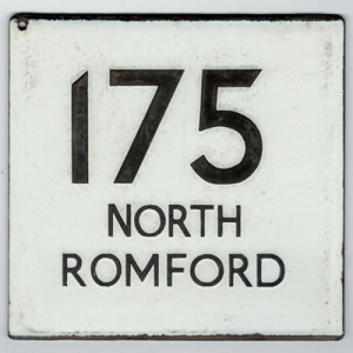 London Transport Route 175 North Romford Bus Stop 'e' Plate