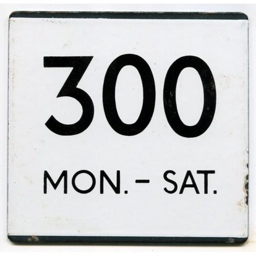 London Transport Country Area Route 300 Mon.-Sat. Bus Stop 'e' Plate