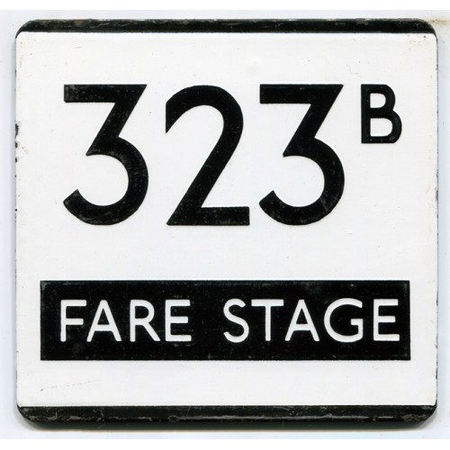 London Transport Country Area Route 323B Fare Stage Bus Stop 'e' Plate