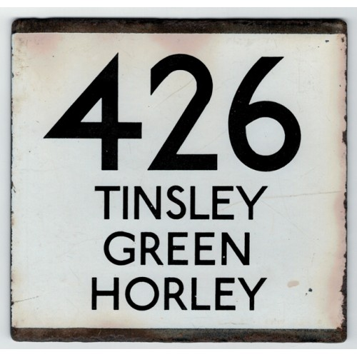 London Transport Bus Stop e Plate 426 Tinsley Green Horley