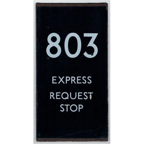 London Transport Bus Stop double vertical e Plate 803 Express Request Stop