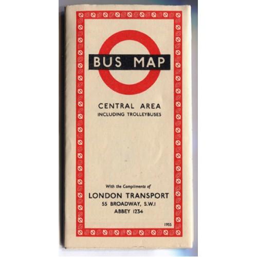 London Transport Bus Map Central Area including Trolleybuses 1955