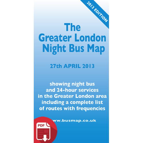 The Greater London Night Bus Map 2013 - Digital Download Version