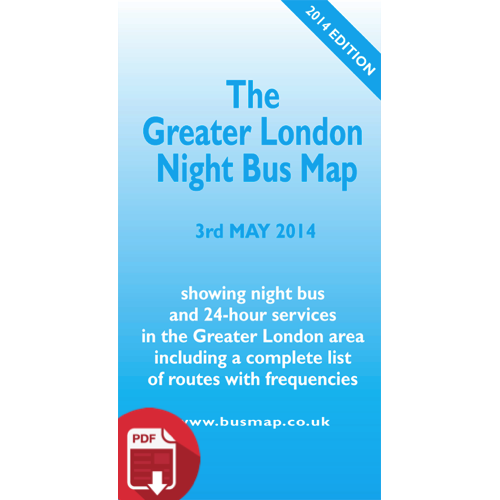 The Greater London Night Bus Map 2014 - Digital Download Version