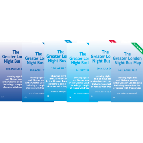 The Greater London Night Bus Map - Complete Printed Set of 6 - (2011-2018)