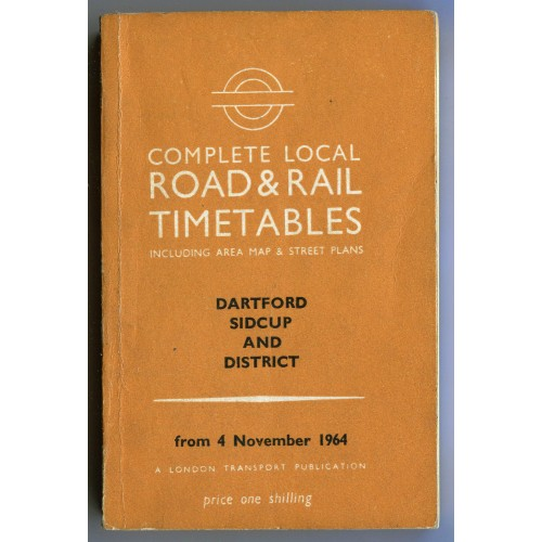 London Transport Dartford Local Road & Rail Timetable 4th November 1964